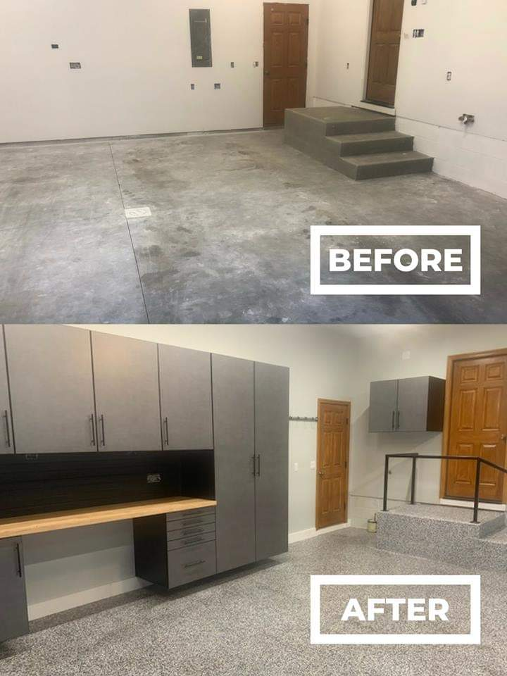 Before And After Garage Epoxy Floor And Cabinets